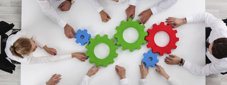 Teamwork with cogs of business