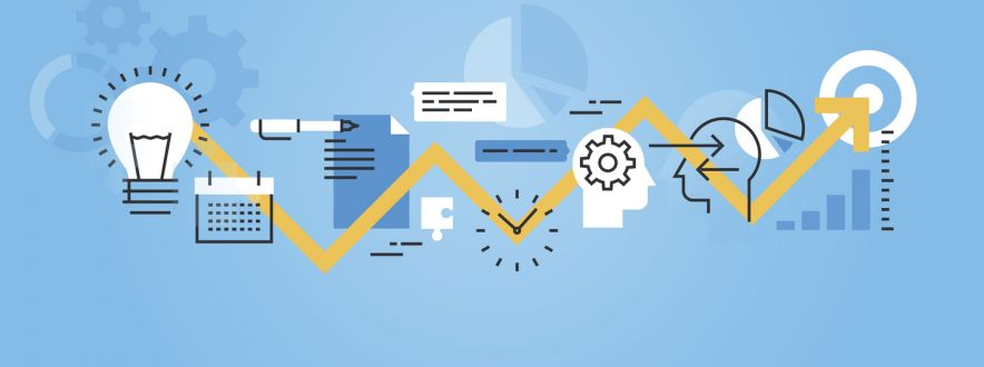 Flat line banner of development process, from idea to realization